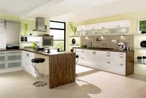 Mẫu tủ bếp 2017 hiện đại sang trọng kết hợp giữa cổ điển và phong cách phương Tây.